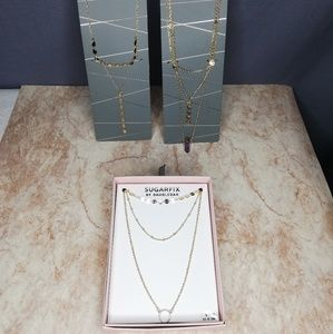 Sugarfix By Baublebar layered gold Necklace lot